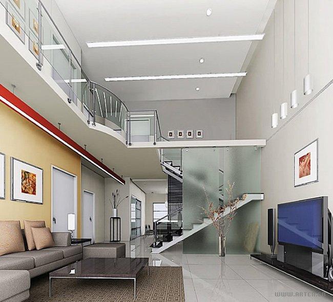 复式客厅简洁大气的效果图