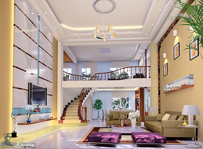 现代简欧复式客厅装修效果图