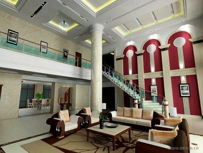 带装饰柱子的客厅效果图
