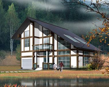 二层中式现代带车库新农村规划小别墅效果图