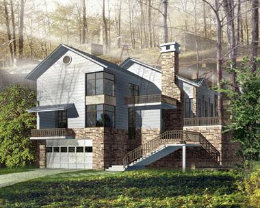 二层新农村简洁带地下车库别墅设计效果图