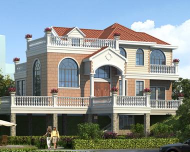 AS090衡阳县周先生地形复杂二层坡地别墅设计案例图欣赏