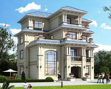 AS095吉安安福姚总欧式豪华四层复式别墅设计图15mX14m