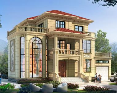 AS106长沙县陈先生定制欧式带车库三层复式楼别墅设计效果图