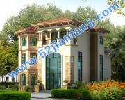 AT962豪华欧式框架结构三层带地下室别墅建筑设计图纸15m×17m