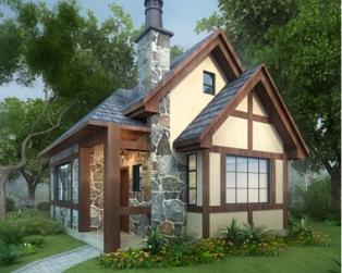 永云别墅AT1641新农村一层英伦风度假休闲小别墅设计8mx6米