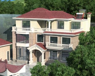 永云别墅AT1690三层带庭院简欧别墅建筑设计图纸15.6mx10.7m