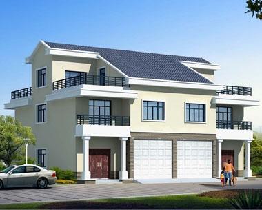 永云别墅AT1709三层简洁双拼带车库别墅建筑设计图纸16.7mx14.4m