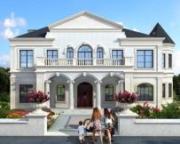 永云别墅AT1736二层法式风情复式楼中楼别墅建筑设计图纸19.4mx11.8m