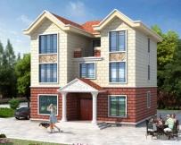 占地130平米AT1735农村自建三层简洁房屋设计施工图纸11.5mx11.9m