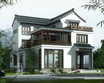 AT1769三层中式复古风格带内庭院别墅设计图纸13.2mX16.8m
