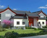 AT1795二层中式风格四合院仿古别墅建筑设计全套图纸29.1mX27.9m