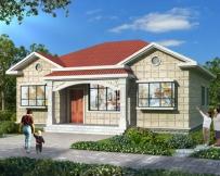 AT1806农村自建房漂亮一层小别墅别墅设计图纸及效果图12.7X11.5米