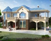 AT1757二层双车库简欧带露台漂亮别墅设计施工图纸18.7mX15.6m