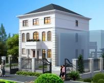 AT1763浪漫法式别墅设计图[送庭院设计]三层小别墅图纸9.5mX17.1m