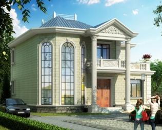 农村私家自建AT1822益阳时尚二层复式小别墅设计图纸12X12m