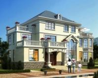 AT1827简欧风格2019新品三层带堂屋私人豪华别墅设计施工图纸19.8mX12.6m