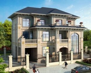 2019新AT1873三层豪华挂大理石材欧式楼中楼别墅设计图纸17mX12m