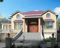 AT1872豪华大气一层带阁楼带架空层别墅设计全套施工图纸14.2mX12m