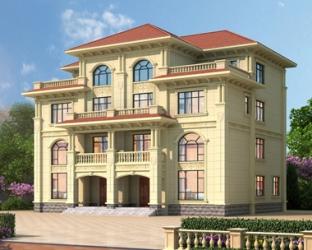 AT1903简欧四层双拼漂亮复式楼带电梯别墅设计施工图纸18.7mX15.1m