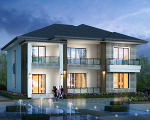 新款AT1902现代风格清雅简单二层别墅设计施工图纸15mX15.7m